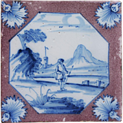 c.1740-60 London Delft landscape and figure tile