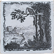 c.1770-80 Sadler Liverpool copper printed tile Aesops Fox & Crow