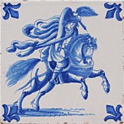 19th century Dutch Delft figural tile