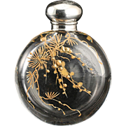c.1870 Gilded Crystal Scent Perfume Bottle, Silver Top
