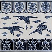 """c.1870-75 Minton 8"""" Aesthetic Cranes tile, Christopher Dresser, framed"""