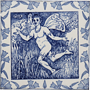 "c.1880 Wedgwood 8"" Shakespeare Midsummer Night's Dream Puck Tile"