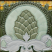 c.1900 Le Glaive Belgium Art Nouveau Pineapple tile, framed