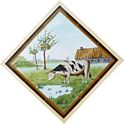c.1905 French Art Nouveau tube line tile panel with grazing bull, framed