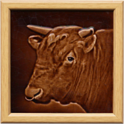c.1890 Sherwin & Cotton cattle portrait tile #2 designed by George Cartlidge