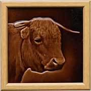 c.1890 Sherwin & Cotton cattle portrait tile designed by George Cartlidge
