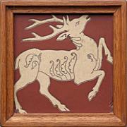 c.1900 Villeroy & Boch encaustic stag tile, framed