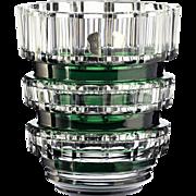 c.1940s 50s Val St. Lambert emerald overlay Fontenay crystal vase, Charles Graffart