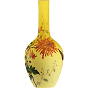 c.1900 floral enamelled shaded uranium lemon satin vase, Thomas Webb