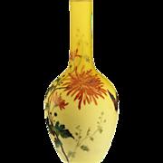 c.1900 floral enamelled shaded uranium lemon satin vase, Thomas Webb