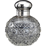 1920 Spherical Cut Crystal Scent Perfume Bottle, Sterling Silver Top