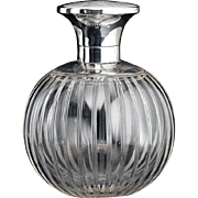 1920 Spherical Crystal Scent Perfume Bottle, Sterling Silver Top