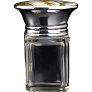 1928 cut crystal dressing table bottle with enamel Chinoiserie top