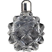 c.1870 French cut crystal scent perfume bottle, silver top