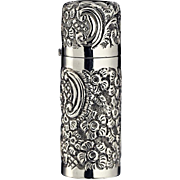 1899 Embossed Silver Cylinder Scent Perfume Bottle