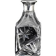 1930 Engraved Crystal Scent Perfume Bottle, Sterling Top