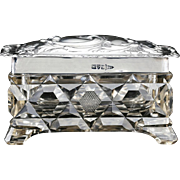1906 Cut Crystal Box Container with Sterling Silver Cover