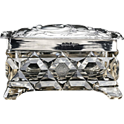 1907 Cut Crystal Box Container with Sterling Silver Cover