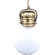 c.1870 Miniature Opaline Glass Scent Perfume Bottle, Silver Gilt Top