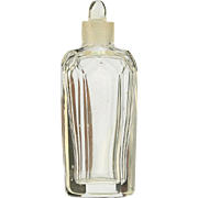 c.1880 Engraved Crystal Scent Bottle in Leather Etui