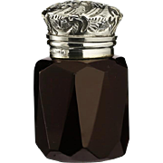 1901 Ruby Glass Scent Perfume Bottle, Silver Top
