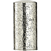1905 George Walton silver cylinder scent perfume bottle