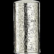 1905 George Walton silver cylinder scent perfume bottle