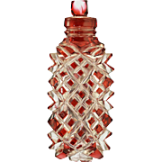 c.1880 Cranberry Overlay Crystal Scent Perfume Bottle