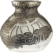 c.1930s Val, E & Cie Paris Paul Daum acid etched bats glass vase with metal mounts, signed