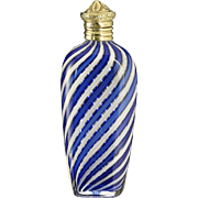 c.1880 French blue & white Clichy type cased crystal scent perfume bottle