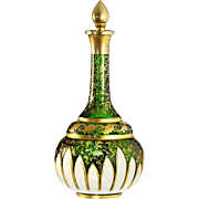 c.1880 Bohemian white over green overlay cut glass scent perfume bottle
