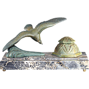 c.1930s French Art Deco seagull inkwell on marble base