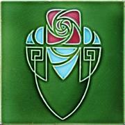 c.1910 Art Nouveau stylised rose and shield tile, Hemixem Belgium