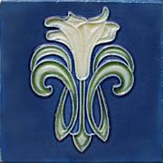 c.1910 Art Nouveau stylised lily flower tile, Hemixem Belgium