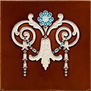 c.1905 Art Nouveau bell flower tile #3, Hemixem Belgium