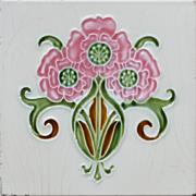c.1905 Art Nouveau floral spray tile #2, Hemixem Belgium
