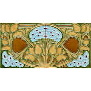 c.1905 Hemixem Belgium Art Nouveau double tile panel, framed