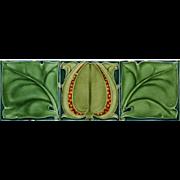 c.1905 Art Nouveau triple tile panel by George Marsden, framed