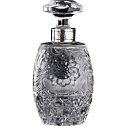 c.1900 Engraved & Cut Crystal Dressing Table Scent Perfume Bottle, Silver Collar