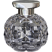 1942 Spherical Crystal Scent Perfume Bottle, Sterling Silver Top