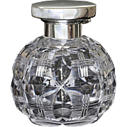 1942 Spherical Crystal Scent Perfume Bottle, Sterling Silver Top #2