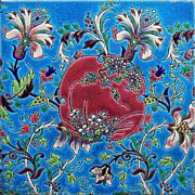 """c.1900 Longwy France floral 8"""" faience tile"""