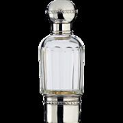 c.1915 French crystal spirit bottle in silver holder, similar to scent perfume, Servais & Gubert, Paris