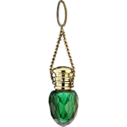 c.1890 Emerald Facet Cut Glass Scent Perfume Bottle, Brass Top