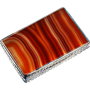 c.1920s 900 Silver Table Box with Agate Top