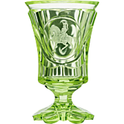 c.1860 Green Uranium Horseman Engraved Cut Glass Footed Beaker, Pokal