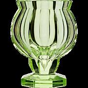 c.1915 Goldberg green uranium modernist cut glass vase