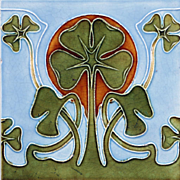 c.1905 Art Nouveau clover tile, possibly Tonwerk Offstein