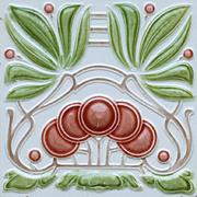 c.1905 Continental Art Nouveau cherries tile, possibly Bendorf