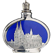 c.1930s German silver overlay porcelain souvenir scent perfume bottle